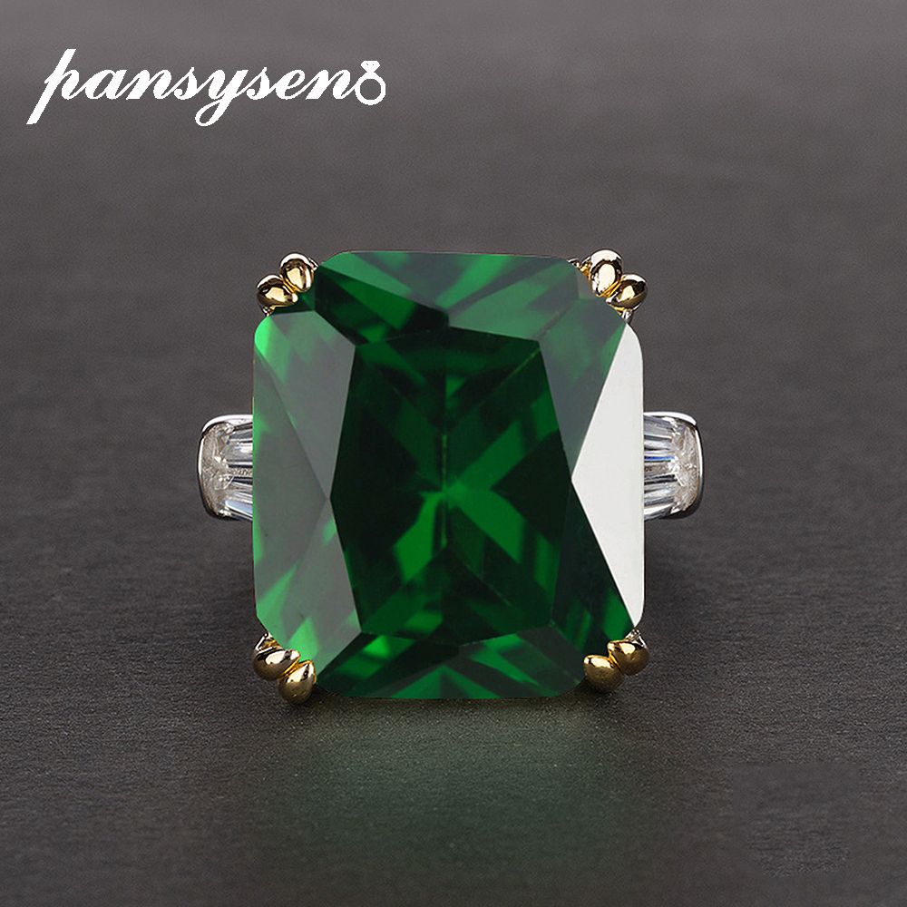 PANSYSEN 7 Colors Green Emerald Rings for women Green Pink Red Purple Gemstone S925 Silver Jewelry Engagement Ring Size 5-12(China)
