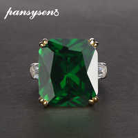 PANSYSEN 7 Colors Green Emerald Rings for women Green Pink Red Purple Gemstone S925 Silver Jewelry Engagement Ring Size 5-12