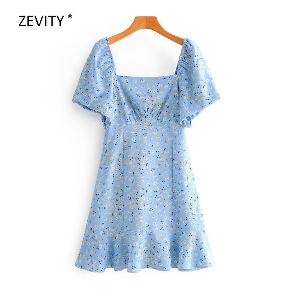 New 2020 women vintage square collar flower print pleats mini dress female puff sleeve back elastic vestidos chic dresses DS3868