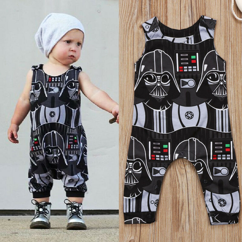 Goocheer Fashion Baby Boy Clothes Toddler Kids Cartoon Star Wars Romper Sleeveless Jumpsuit Clothes Outfits