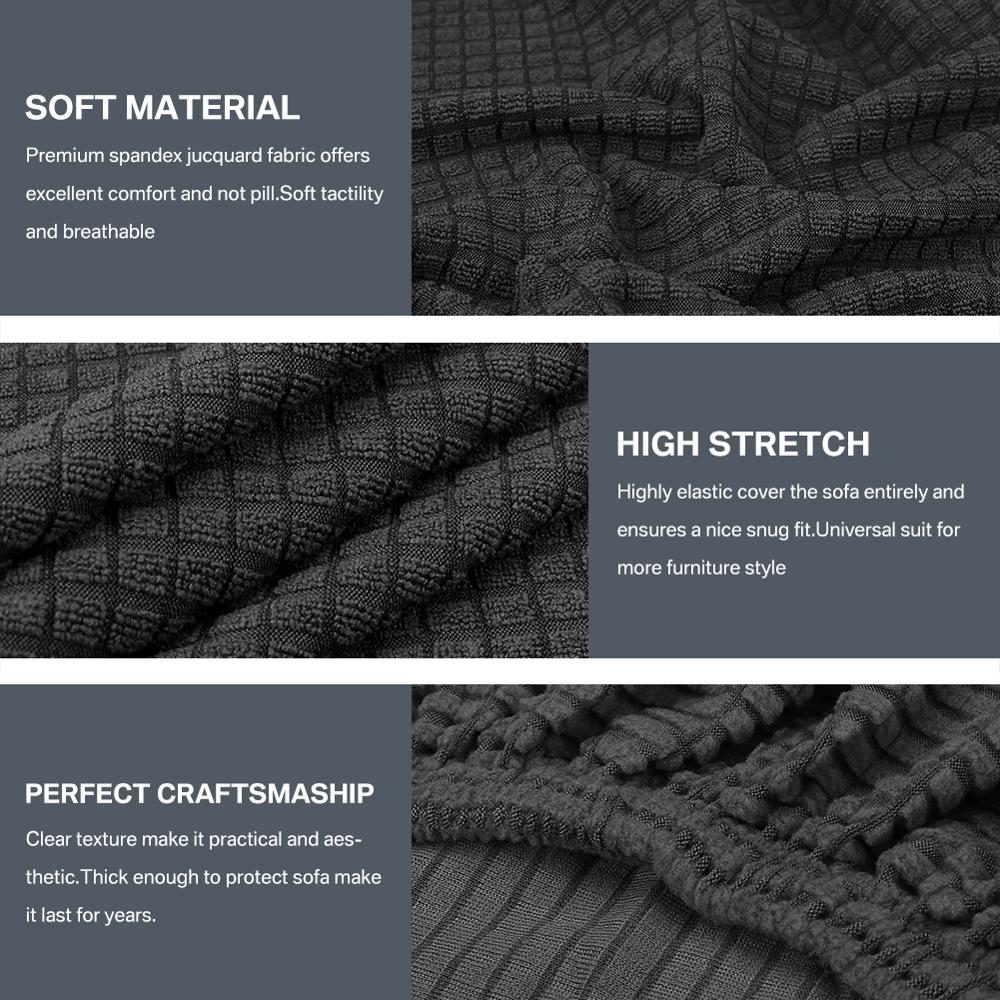 Fleece Sofa Cover Waterproof Solid Color Sofa Covers for Living Room Armchairs Stretch Covers Non-Slip Soft Furniture Protector 3