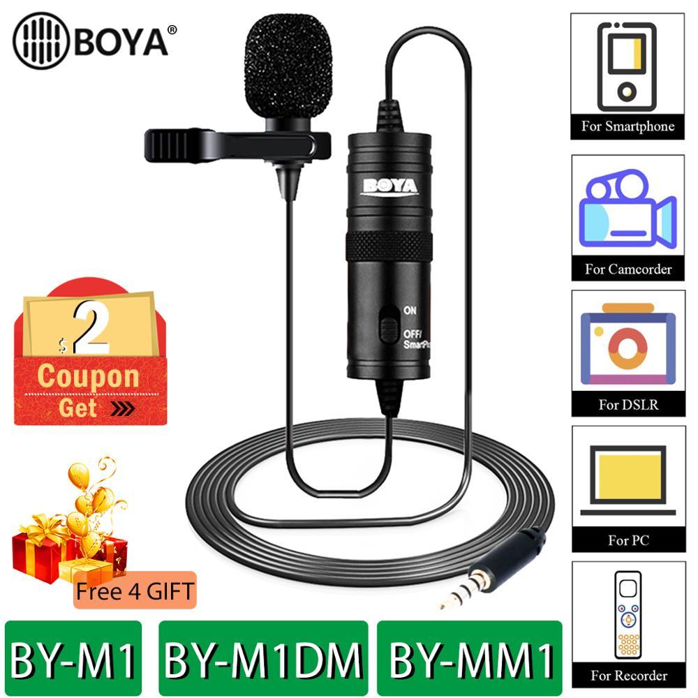 Boya BY-M1 BY-M1DM BY-MM1 por m1 lavalier microfone câmera gravador de vídeo para o iphone smartphone canon nikon dslr zoom filmadora