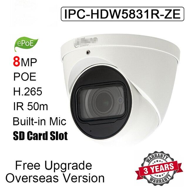 Dahua cámara IP IPC HDW5831R ZE de 8MP, dispositivo de IPC HDW5831R ZE de red con logotipo, H.265, IP67, IR, 50m