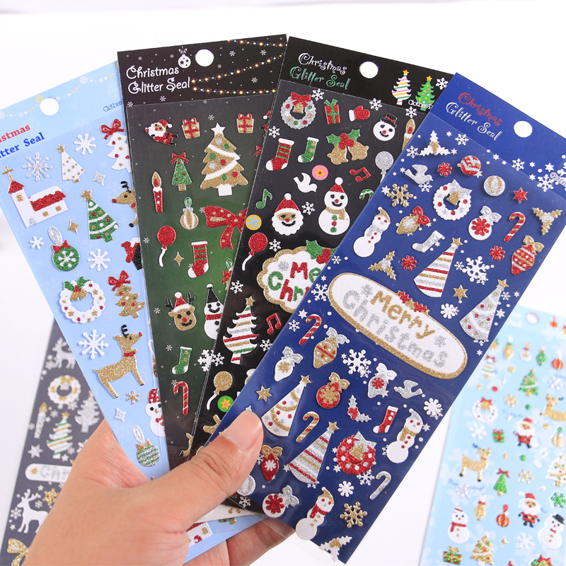 Merry Christmas Party Bullet Journal Decorative Glitter Gold Stickers Scrapbooking Stick Label Diary Stationery Album Stickers