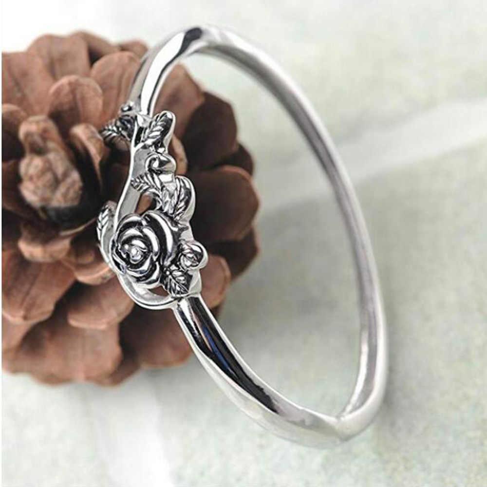 Vintage Silver Rose ออกแบบแหวนยุโรปและอเมริกาชุบเงินโบราณแหวนหมั้นแหวนแฟชั่นเครื่องประดับ