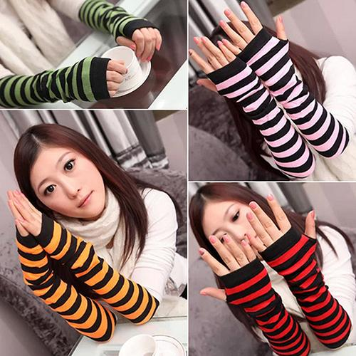 Women's Stripes Mitten Winter Knitted Wrist Arm Hand Warmer Fingerless Gloves