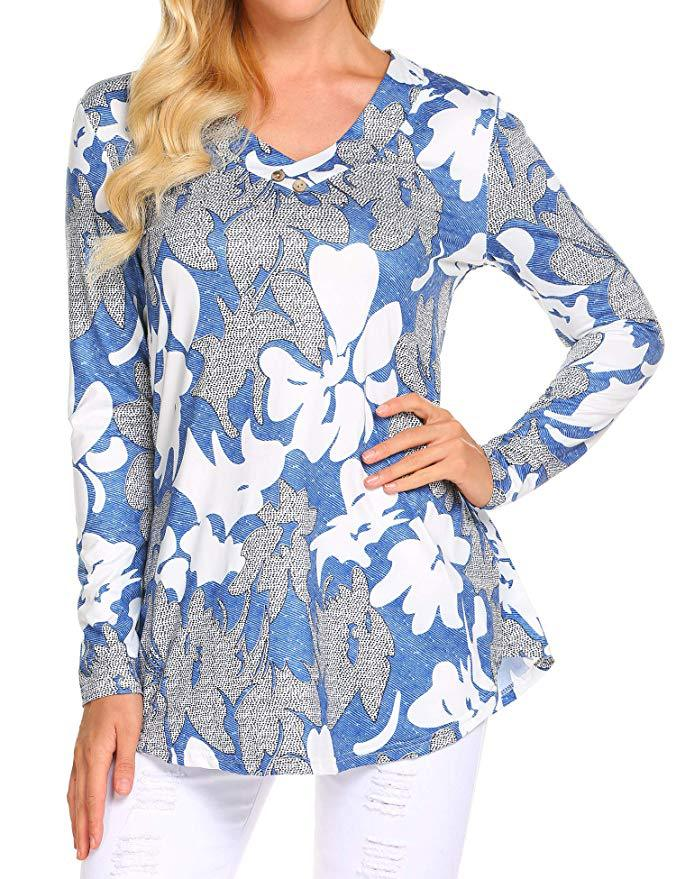Hebcff27a1c5a4df986af52f7f29a63dah - Large size Blouse Women Floral Print Long Shirts elegant Long Sleeve Button Autumn Tunic Tops Plus Size Female Clothing