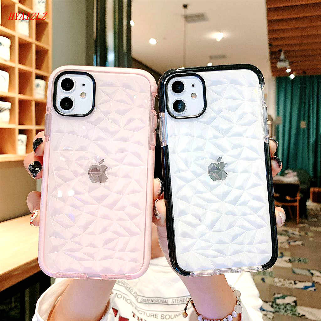 Casing Transparan untuk iPhone 12 11 Pro Max XR X 7 8 Plus Soft TPU 3D Diamond Pattern Back Cover tubuh Penuh Bumper Kokoh XS Capa