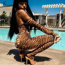 Simenual Fashion nadruk zebry kombinezon damski z długim rękawem Off Shoulder Sexy Hot pajacyki jesień Slim Skinny przezroczyste kombinezony tanie tanio Poliester Elastan Kombinezony i Pajacyki Na co dzień NONE Suknem Leopard Women Jumpsuit Kobiety