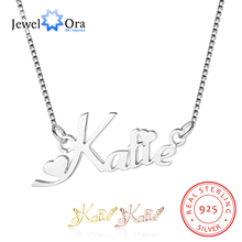Заказное ожерелье с русским именем, персонализированное Настоящее 925 пробы, серебряная подвеска, именная табличка, подарок для девушки (JewelOra NE101622)
