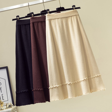 лучшая цена AOSSVIAO Autumn Winter New Fashion Women's Knitted Solid Color Half Length Elastic Skirt Promotions Lady 2019 Beige Brown Black