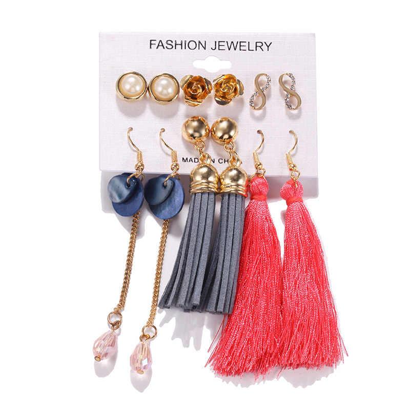 Quaste Ohrringe Set 2019 Mode Ohrringe Für Frauen Bohemian Bunte Perle Stud Ohrringe Nette Winter Weiblichen Schmuck Großhandel
