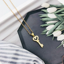 Fashionable personality key female necklace crystal key pendant alloy chain exquisite girl birthday gift цена