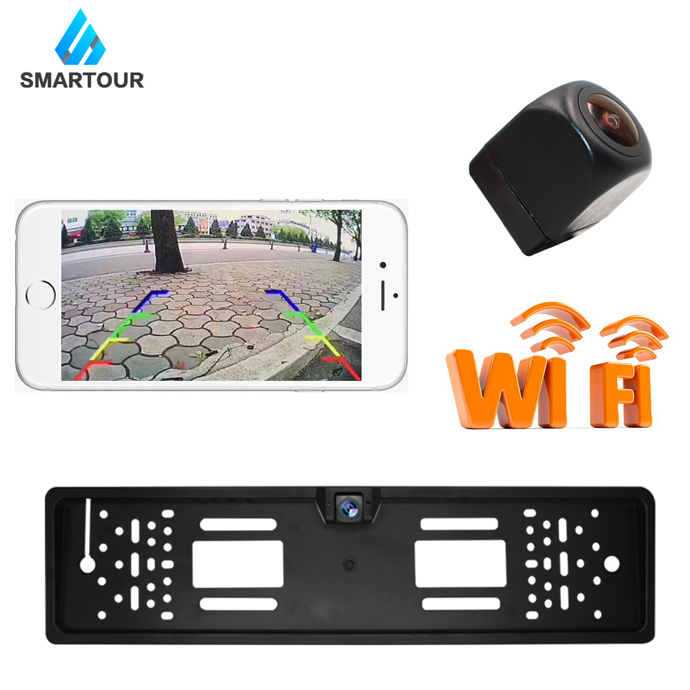 Smartour WIFI Car Rear View Camera European License Plate Frame Reverse Camera For IOS Android Mobile Phone BackUp Camera