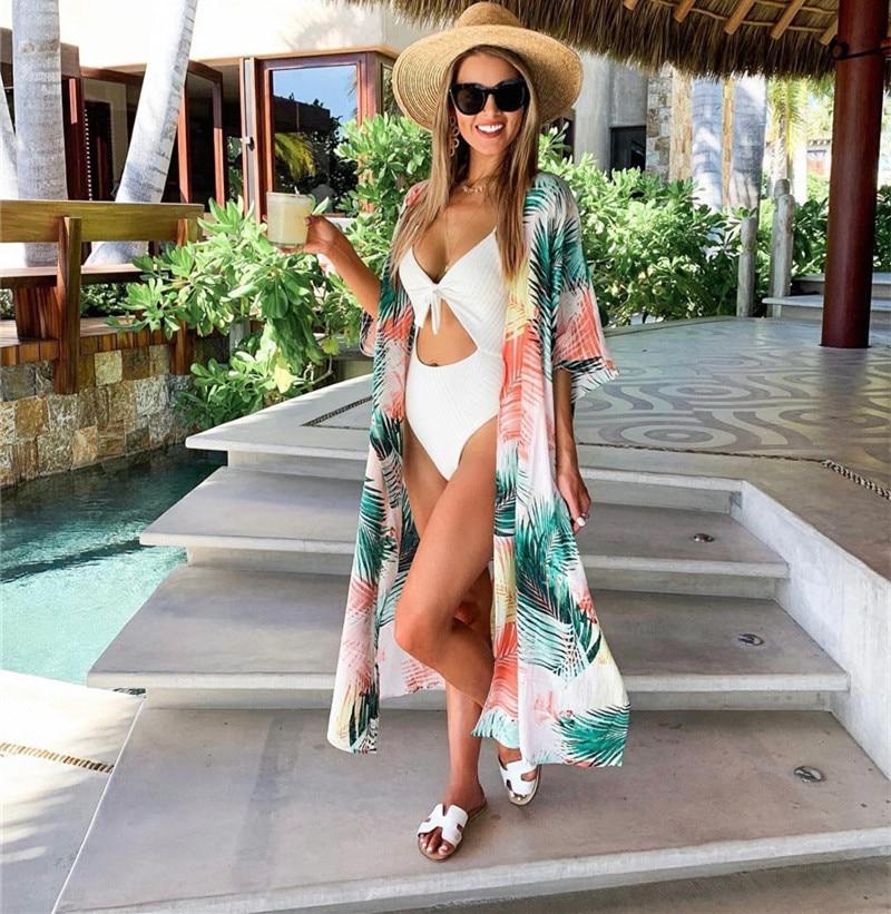 2020 Summer Cardigan Beach Dress Women Plus Size Bikini Cover Up Leaf Printed Robe Tunic Beach Wear Swim Cover-Ups Long Kaftan