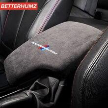 Alcantara Wrap araba İç kol dayama kutusu paneli ABS kapak M performans Sticker Styling için F30 3 serisi 2013 2019 aksesuarları
