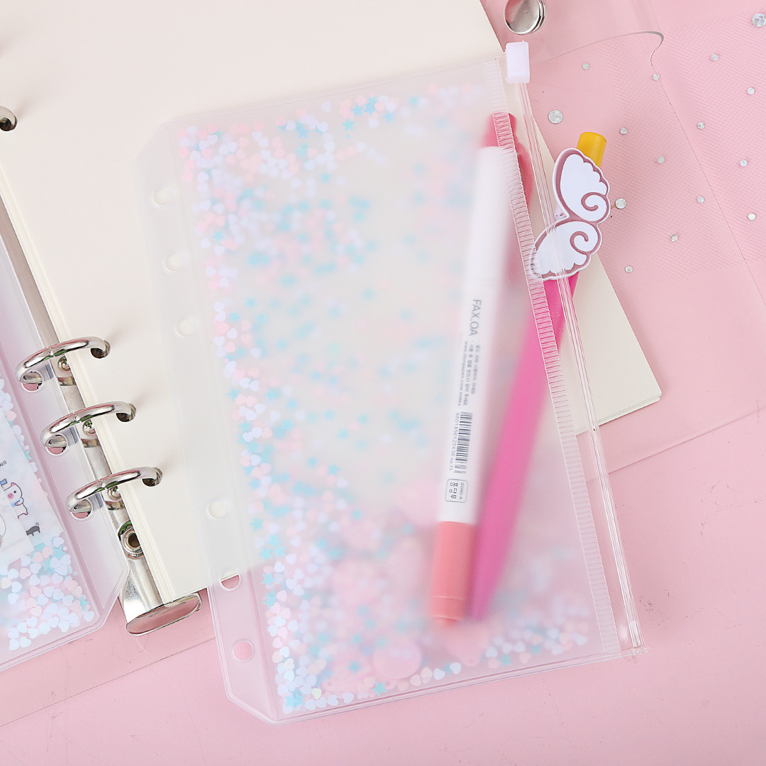 A5 A6 Loose Leaf Diary Collection Case, Traveler Journal Notebook DIY Accessory Kawaii Colorful Stars PVC Zip Pouch Name Cards