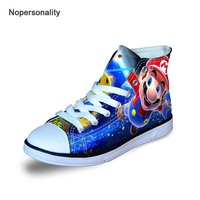 Nopersonality Cool Cartoon Mario Print Kids Sneakers Light Canvas Shoes for Boys Girls Breathable Children Flat Shoes Lace Up