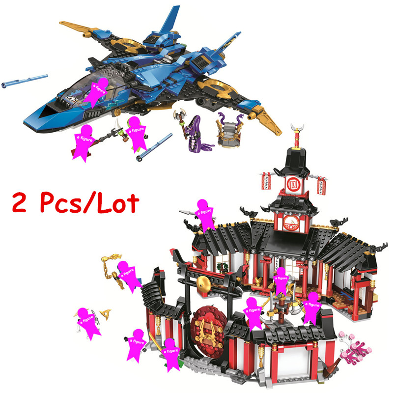 2Pcs <font><b>Ninjagoed</b></font> Legacy Storm Fighter + Monastery Building Blocks Kit Bricks Ninja Classic Movie Model Kids Toys For Children Gift image