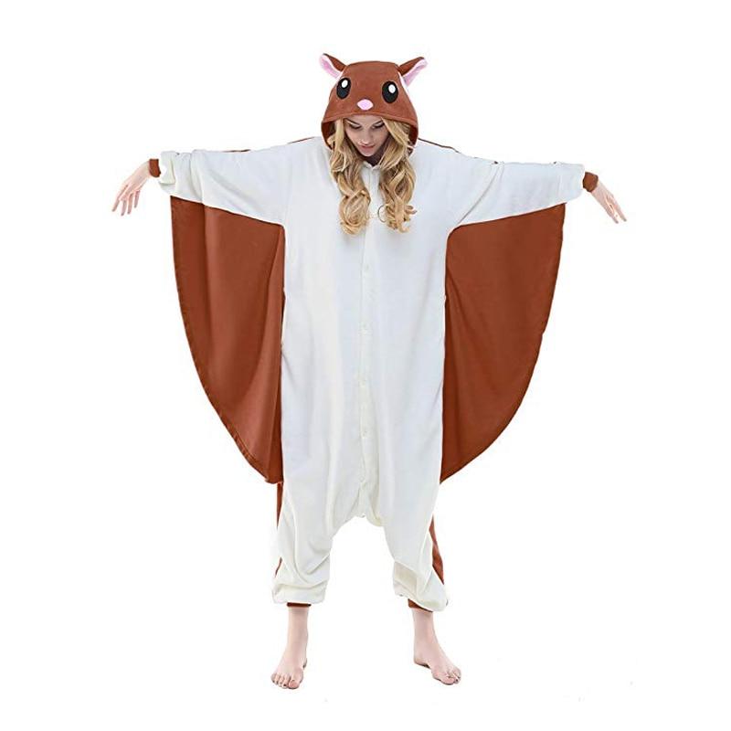 Flying Squirrel Unisex Adult One-piece Pajamas Cosplay Onesie Cartoon Women Animal Sleepwear Pyjamas Christmas Halloween Costume