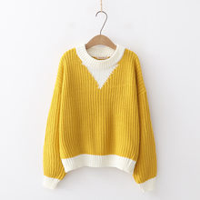 Winter Ladies Thick Warm Sweater Female Loose Pullover Knitted Jumper Tops for Women Yellow Long Sleeve Casual Knitwear H9485(China)