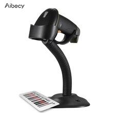 Aibecy אוטומטי USB ברקוד סורק Wired בר קוד 1D סורק קורא עם מעמד מתכוונן USB כבל תואם