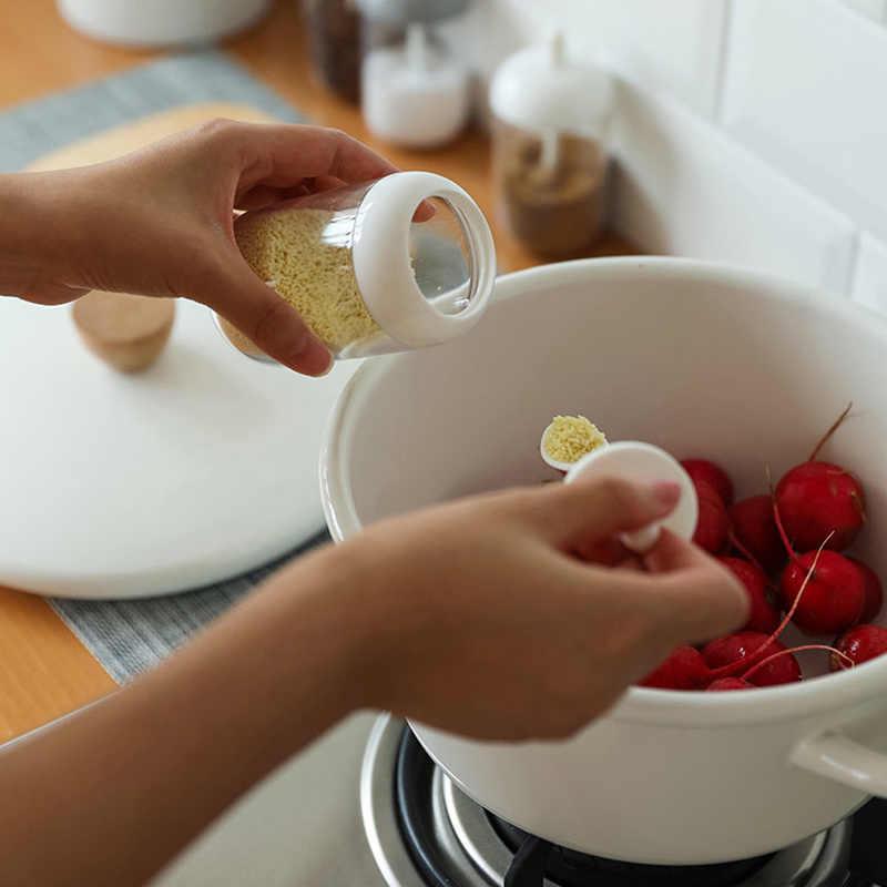 Dapur Kaca Botol Bumbu Garam Kotak Penyimpanan Toples Bumbu dengan Sendok Perlengkapan Dapur untuk Gula Garam Merica Bubuk Alat Dapur