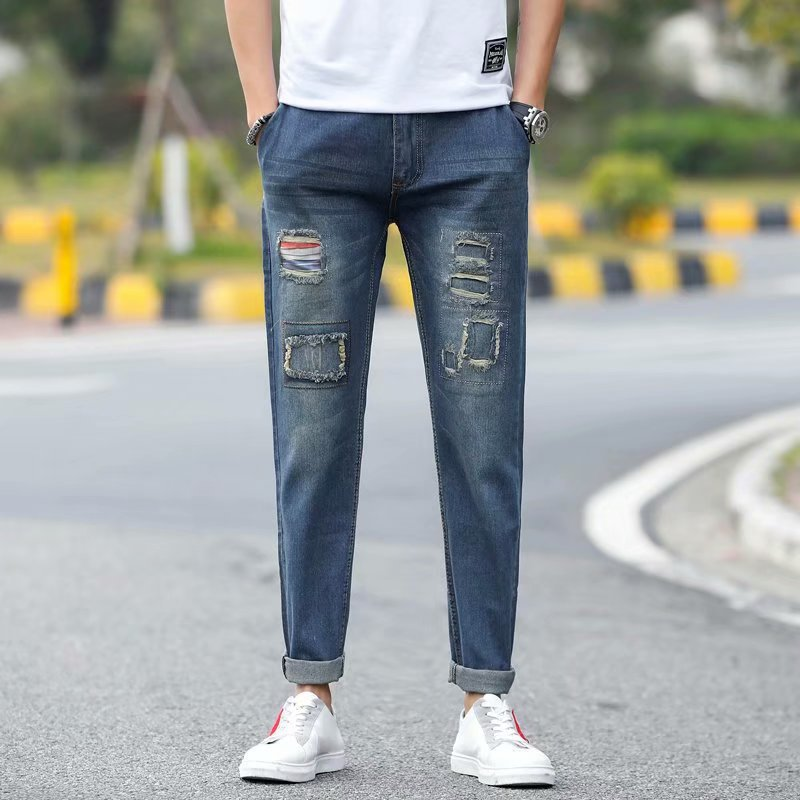New Style Street Men With Holes Jeans Men's Korean-style High Street Cool Design MEN'S Jeans