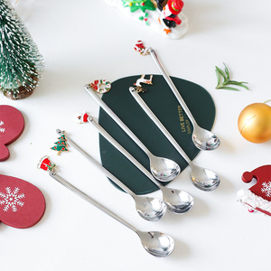 New Year 2021 Stainless Steel Christmas Spoons Xmas Party Tableware Ornaments Christmas Decorations for Home Table Navidad Gift