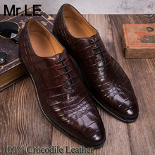 цена на Crocodile Shoes Men Dress 100% Genuine Leather Brand Designer Party Wedding Luxury Men's Oxford Casual Formal Alligator Shoes