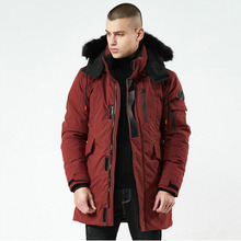 Dicke Warme Männer Winter Jacke Mantel Fell Kapuze Casual Herren Parka Streetwear Lange Casual Mann Outwear