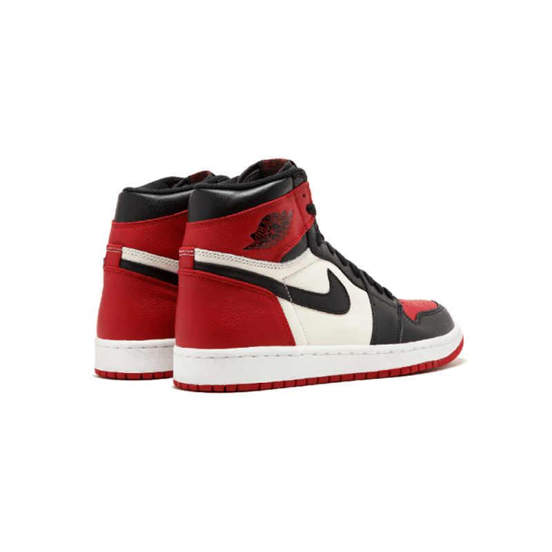 Оригинальные подлинные мужские баскетбольные кроссовки с высоким берцем в стиле ретро от Nike Air Jordan 1 OG, Модные дышащие кроссовки красного и белого цвета, новинка 2019