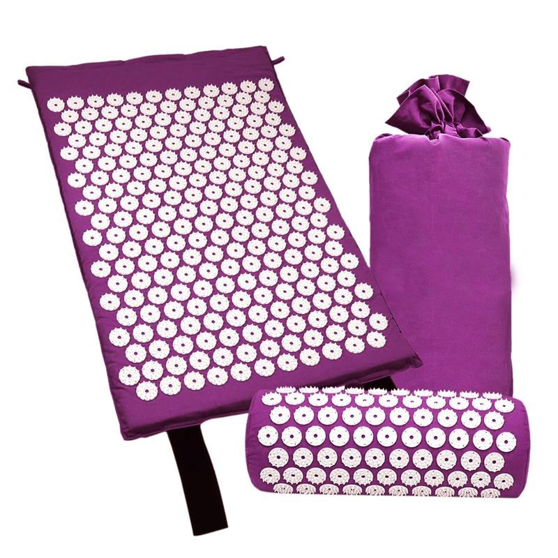Acupressure Massage Mat With Pillow For Stress/Pain/Tension Relief Body Relax(purple)