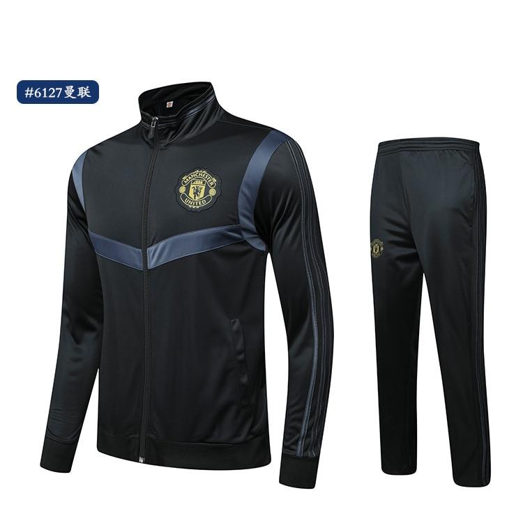 Autumn And Winter New Style Barcelona Football Club Real Madrid Long Sleeve Barcelona Plus Velvet Sports Long-sleeve Suit Footba