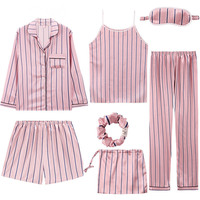 JULY'S SONG 2019 Women 7 Pieces Pajamas Sets Stain Faux Silk Pajamas Women Sleepwear Sets Autumn Winter Tops+Shorts+Shirt+Pants