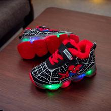 Spider man Kids Shoes With Lights Autumn Winter Toddler Boys