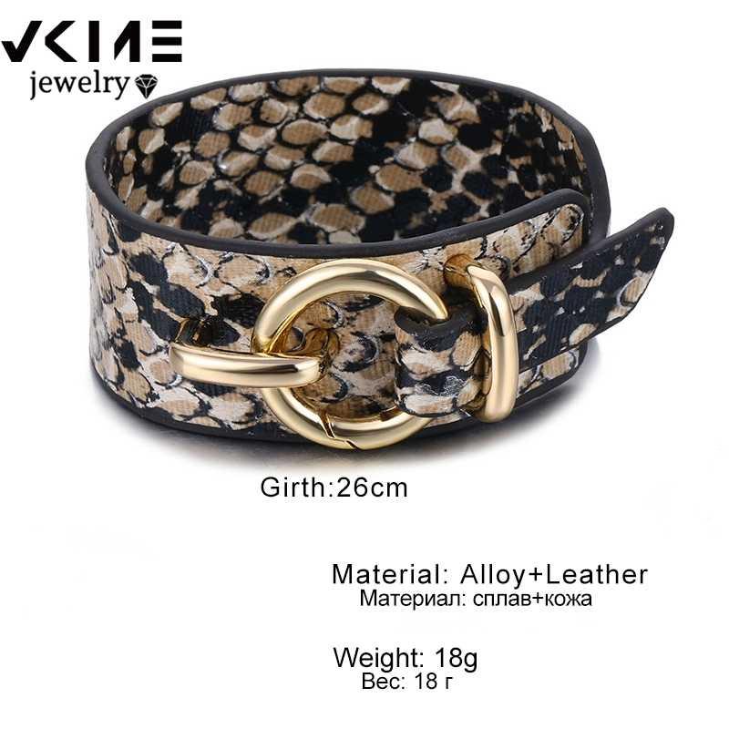 VKME PUNK de cuero de serpiente pulsera para los hombres y las mujeres encanto cerradura de Metal Pulseras de Moda nuevo pulseras coreanas 2020 joyería de fiesta