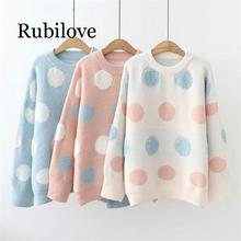 Rubilove High Quality Towel Embroidered Circle Dots Sweaters Women 2019 Winter Loose Pullovers Knitted Female Sweater