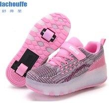 Детские светящиеся кроссовки для девочек; сетчатая обувь с двойными колесами; детская светящаяся обувь для катания на роликах; женская обувь с tpr подошвой; Светодиодный свет; обувь для мальчиков