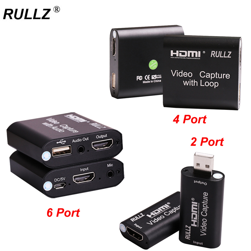 Rullz Loop out Audio Video Capture Card HDMI Recording Box Mic in USB 2.0 4K Phone Game Live Streaming for Switch PS4 DVD Camera
