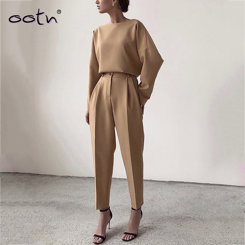 2020 Streetwear Brown High Waist Slim Pants Woman  Khaki Trousers Mujer Casual Solid Basic Pencil Pants Female Spring Clothing