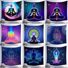 インド仏像瞑想7チャクラタペストリー壁掛け曼荼羅タペストリー壁布サイケデリックヨガカーペット自由奔放に生きる装飾