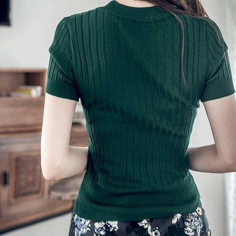Slim Rajutan Sweater untuk Wanita 2019 Musim Panas Atasan dan Pullovers Lengan Pendek Bodycon Pakaian Leher O Wanita Hijau Sweater