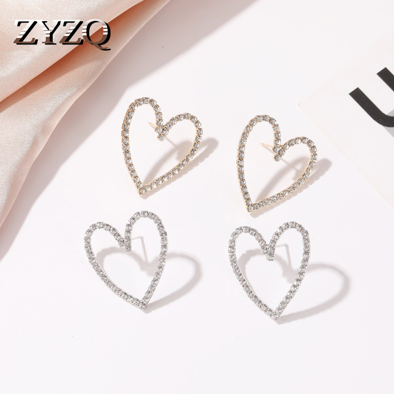 ZYZQ New Arrival Love Heart Earrings Trendy Hollow Out Design Simple Korean Stylish Women Accessories With Sparkling Tiny Stones