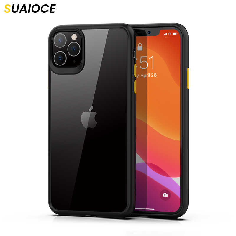 Suaioce Dunne Shockproof Case Voor Iphone 11 Pro Xr X Xs Max 7 8 Plus Se 2020 Clear Transparant Back cover Luxe Beschermhoes