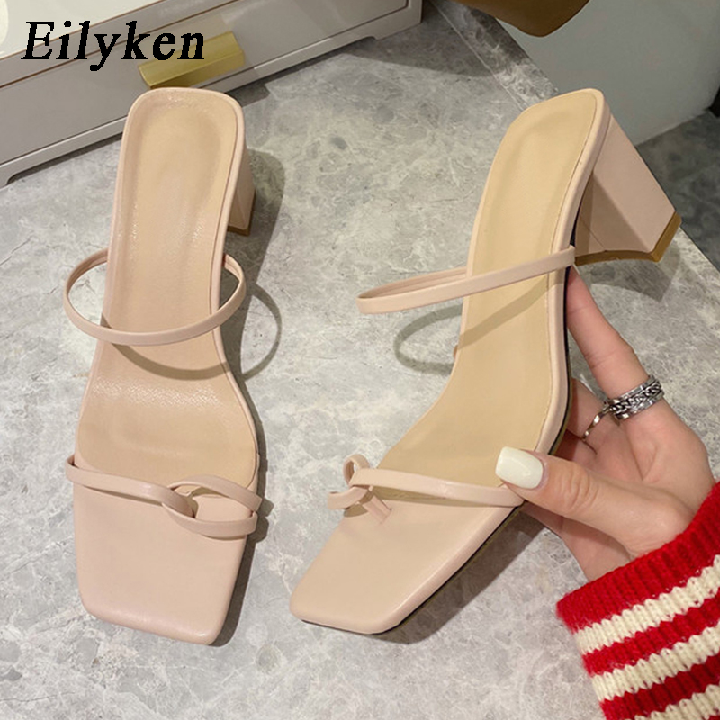Eilyken New Summer Slippers High Heel Slides  Narrow Band Sandal Summer Outdoor Vacation Slides Flip Flops Mujer