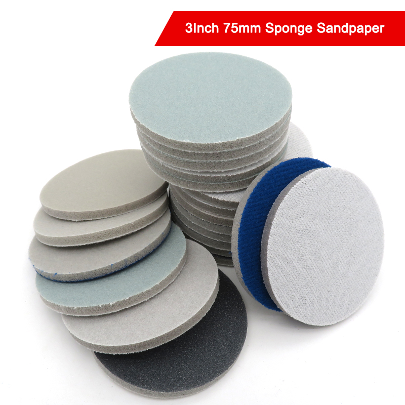 3 Inch <font><b>75mm</b></font> Sponge Foam Sandpaper <font><b>Disc</b></font> 300-3000 Grit Back Velvet Flocking Sandpaper Self-sticking image
