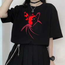 Vintage punk harajuku grunge gótico escuro anime impressão dos desenhos animados camiseta feminina verão 2021 mulher solta tshirts y2k topos dropshipping