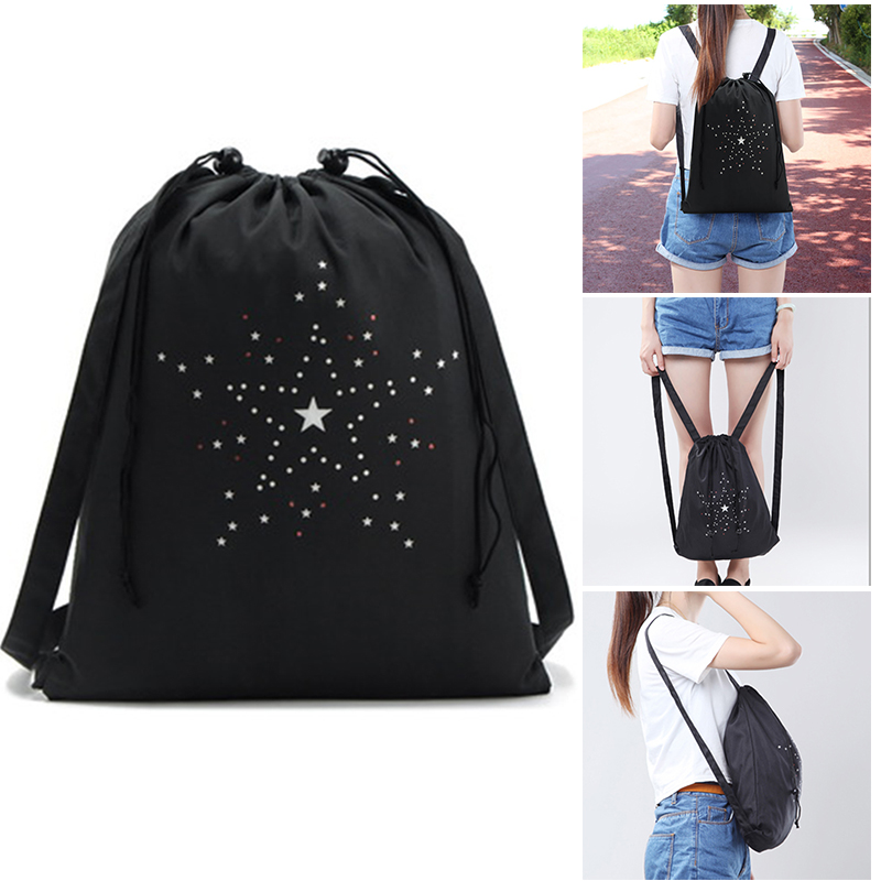 Drawstring Backpack Bag Sackpack Portable Waterproof For Outdoor Sports Travel New