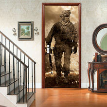 цена на 3D creative Call of Duty 1 door stickers wall stickers self-adhesive waterproof removable